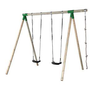 נדנדת עץ גבוהה לילדים כולל חבל טיפוס תוצרת Horby Bruk שוודיה