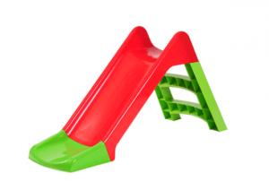 מגלשה לילדים מפלסטיק איכותי מותאמת לגיל הרך בצבעים אדום ירוק