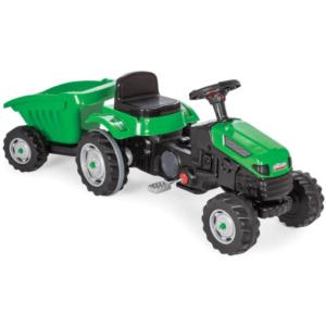 טרקטור לילדים עם פדלים כולל עגלה נגררת תואמת בצבע ירוק